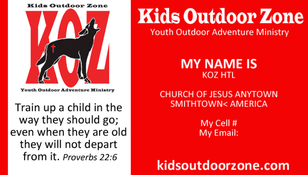 KOZ business cards - Kids Outdoor Zone, KOZ : Kids Outdoor Zone, KOZ